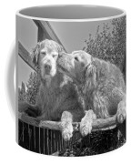 Golden Retrievers The Kiss Black And White Coffee Mug by Jennie Marie Schell