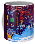 Jogging In The Snow Along Boathouse Row Coffee Mug by Bill Cannon