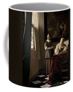 Lady Writing A Letter With Her Maid Coffee Mug by Jan Vermeer