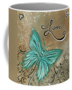 Live And Love Butterfly By Madart Coffee Mug by Megan Duncanson