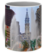 Logan Circle Fountain With City Hall In Backround 4 Coffee Mug by Bill Cannon