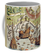 Naval Battle Between The Portuguese And French In The Seas Off The Potiguaran Territories Coffee Mug by Theodore de Bry