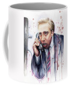 Nicolas Cage A Vampire's Kiss Watercolor Art Coffee Mug by Olga Shvartsur
