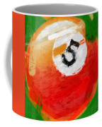 Number Five Billiards Ball Abstract Coffee Mug by David G Paul