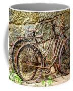 Old French Bicycles Coffee Mug by Debra and Dave Vanderlaan