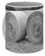 Round Hay Bales Black And White  Coffee Mug by James BO  Insogna