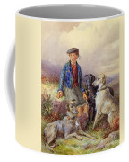 Scottish Boy With Wolfhounds In A Highland Landscape Coffee Mug by James Jnr Hardy