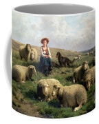 Shepherdess With Sheep In A Landscape Coffee Mug by C Leemputten and T Gerard