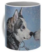 Siberian Huskies In Snow Coffee Mug by Lee Ann Shepard