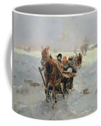 Sleighs In A Winter Landscape Coffee Mug by Janina Konarsky