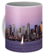 Sunset Sail In Puget Sound Coffee Mug by Adam Romanowicz