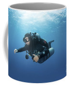 Technical Diver With Equipment Swimming Coffee Mug by Karen Doody