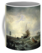 The Entrance To The Harbour At Hellevoetsluys Coffee Mug by Andreas Achenbach