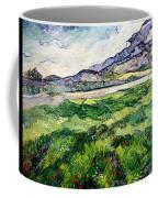 The Green Wheatfield Behind The Asylum Coffee Mug by Vincent van Gogh