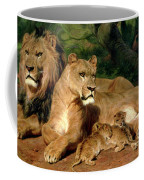 The Lions At Home Coffee Mug by Rosa Bonheur