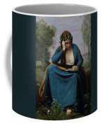 The Reader Crowned With Flowers Coffee Mug by Jean Baptiste Camille Corot