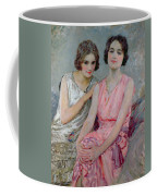 Two Young Women Seated Coffee Mug by William Henry Margetson