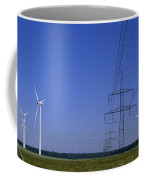 Windmills And High Voltage Transmission Coffee Mug by Norbert Rosing