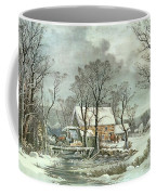 Winter In The Country - The Old Grist Mill Coffee Mug by Currier and Ives