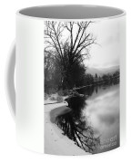 Winter Tree Reflection - Black And White Coffee Mug by Carol Groenen