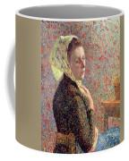 Woman Wearing A Green Headscarf Coffee Mug by Camille Pissarro