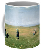 Young Girls Picking Flowers In A Meadow Coffee Mug by Michael Peter Ancher