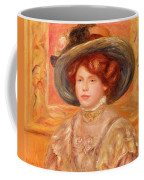Young Woman In A Blue Hat Coffee Mug by Pierre Auguste Renoir