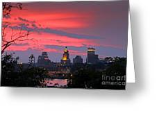 4th Of July Sunset Providence Ri Greeting Card by Butch Lombardi
