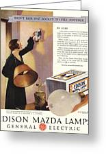 1920s Usa Edison Mazda Lamps General Greeting Card by The Advertising Archives