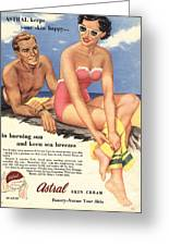 1950s Uk Sun Creams Lotions Tan Greeting Card by The Advertising Archives