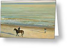 Beach Dialogue Dunwich Greeting Card by Timothy  Easton