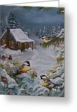 Black Capped   Chickadee's  Greeting Card by Sharon Duguay