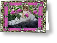 Flower Girl Upon Rocks Greeting Card by Cibeles Gonzalez