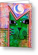 House Of Cats Series - Moon Cat Greeting Card by Moon Stumpp