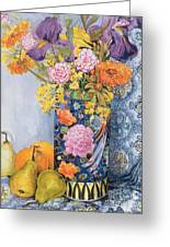 Iris And Pinks In A Japanese Vase With Pears Greeting Card by Joan Thewsey