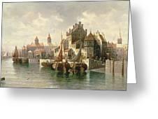 Kieler Canal Greeting Card by August Siegen