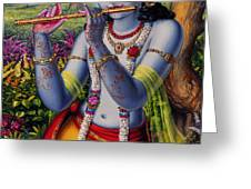Krishna with flute  Greeting Card by Vrindavan Das