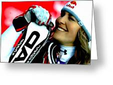Lindsey Vonn Skiing Greeting Card by Lanjee Chee