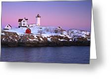 Nubble Light Under A Pastel Winter Sky Greeting Card by Jeff Sinon