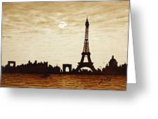 Paris Under Moonlight Silhouette France Greeting Card by Georgeta  Blanaru