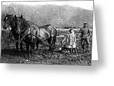 Plowing The Land C. 1890 Greeting Card by Daniel Hagerman