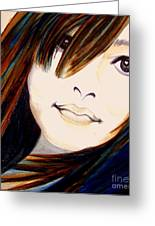 Portrait Of A Woman Greeting Card by Janine Riley