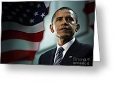 President Barack Obama Greeting Card by Marvin Blaine