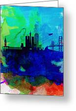 San Francisco Watercolor Skyline 2 Greeting Card by Naxart Studio