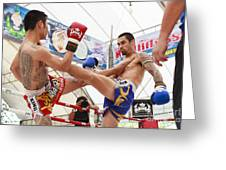 Thai Boxing Match Greeting Card by Anek Suwannaphoom