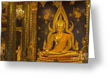 The Main Hall Of Wat Thardtong With Golden Buddha Statue Greeting Card by Anek Suwannaphoom