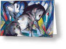 Two Horses Greeting Card by Franz Marc