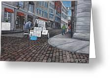 Vendeur Sur La Rue Vieux Montreal Greeting Card by Reb Frost