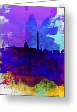 Washington Dc Watercolor Skyline 2 Greeting Card by Naxart Studio