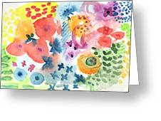 Watercolor Garden Greeting Card by Linda Woods